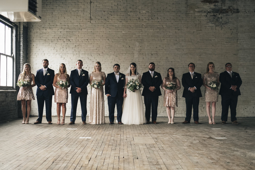 Bridal party portrait at Rustbelt Coffee in Downtown Toledo, Ohio.