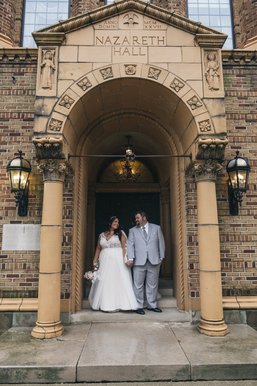 Bride and groom portrait at Nazareth Hall.