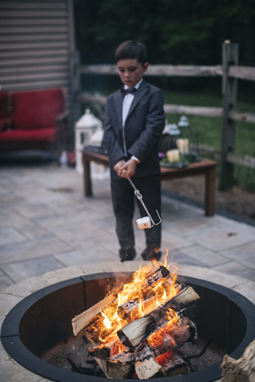 S'more bar at backyard wedding reception.