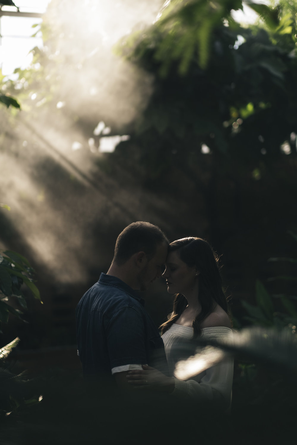 Dark and moody engagement session photography.