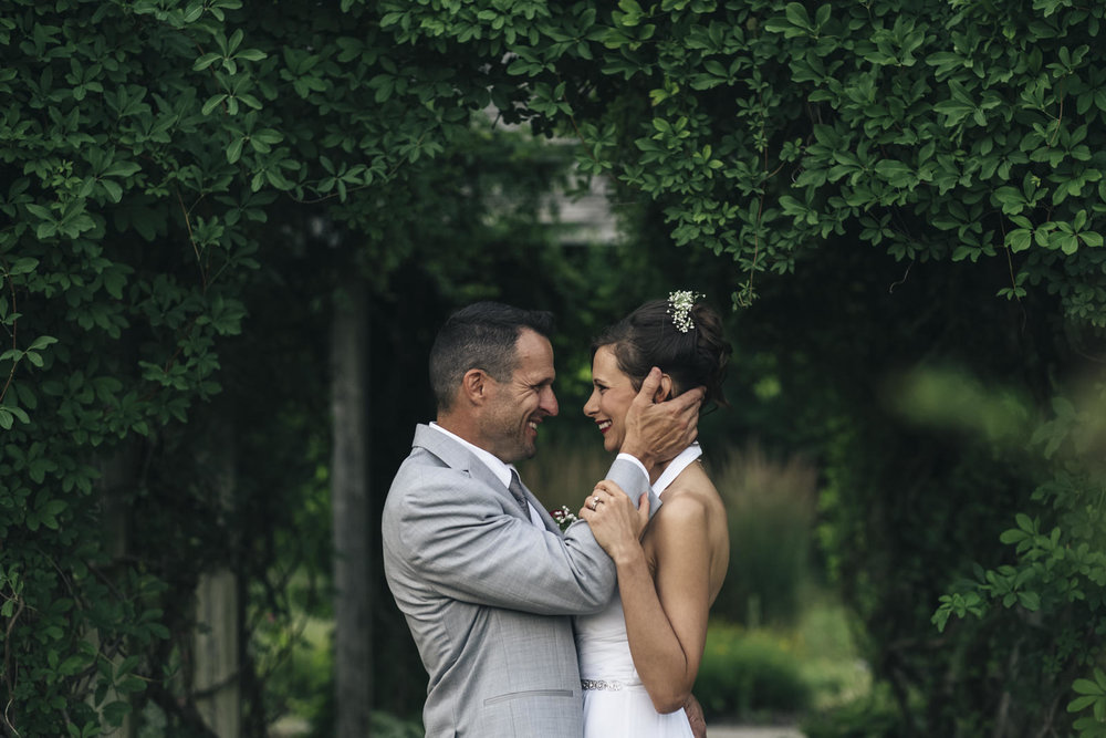 Bride and groom after their elopement at the Toledo Botanical Gardens.