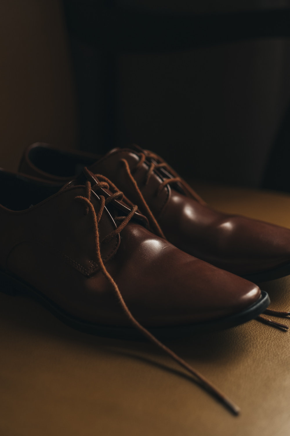 A detail shot of the groom's shoes.