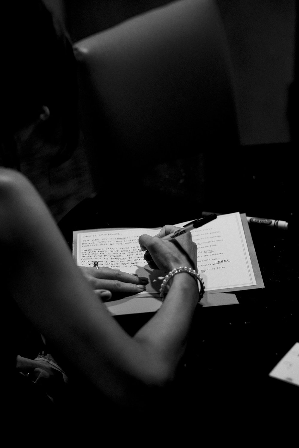 Bride writes a letter to her fiance before their elopement in Ohio.