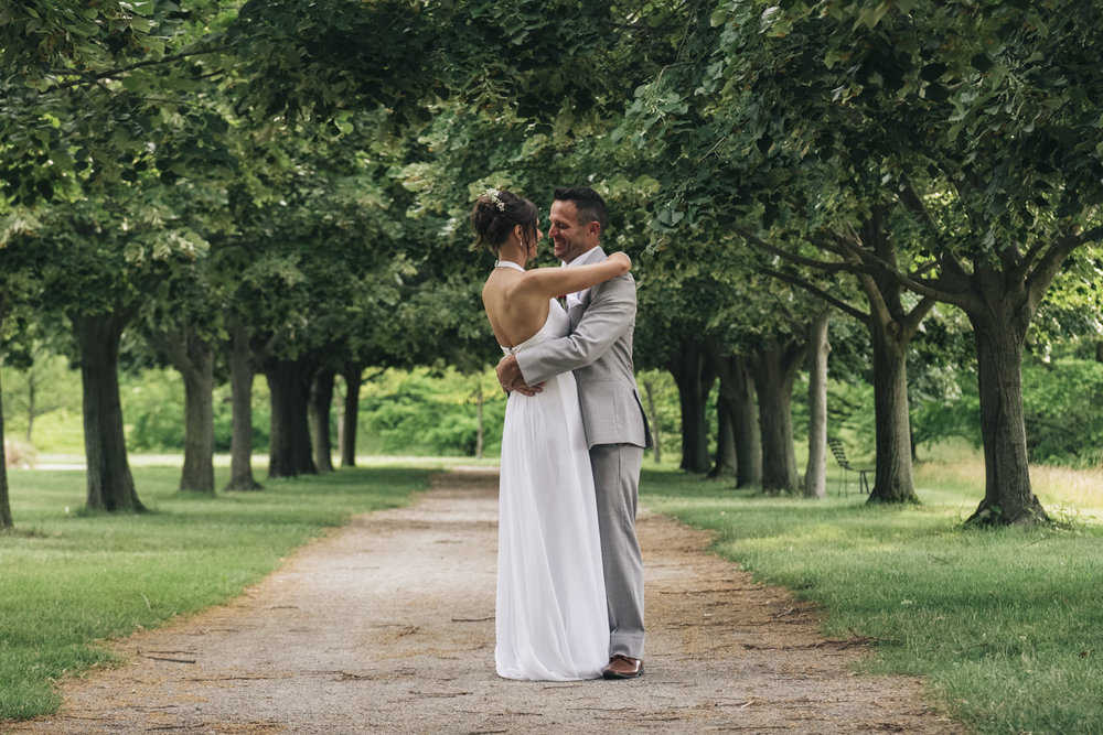 Bride and groom share an intimate moment after their elopement.