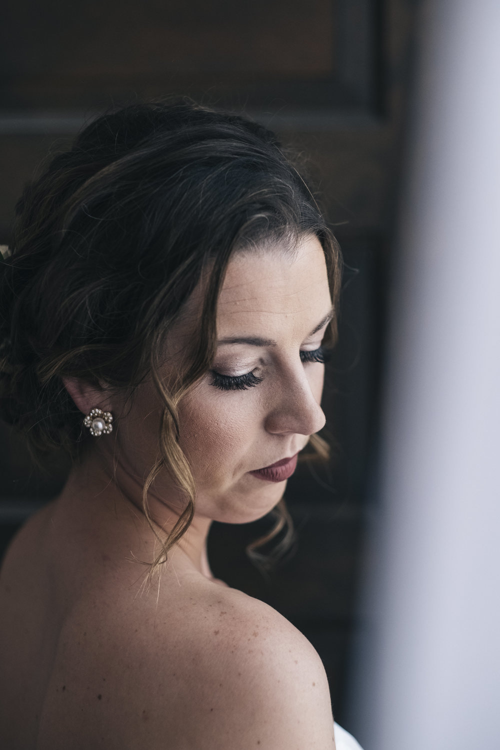 Portrait of the bride before her wedding at Nazareth Hall near Toledo, Ohio.