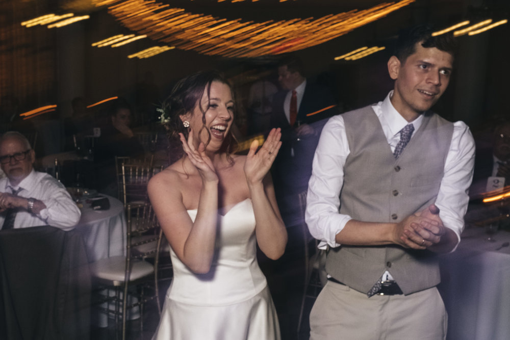 Bride and groom dance at their wedding reception in Toledo, Ohio.