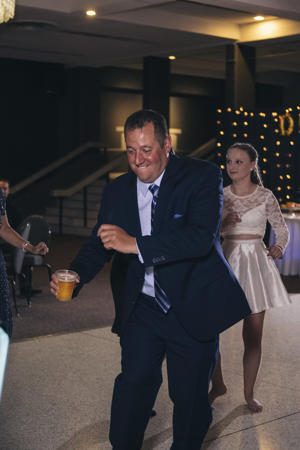 Groom dances at his wedding reception in Northwest Ohio.