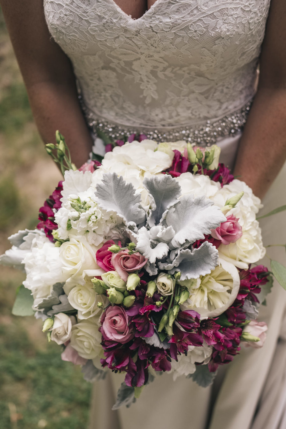 Detail image of the bride's wedding bouquet.