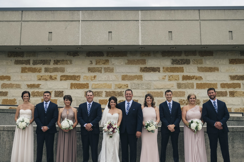 A group picture of the bridal party outside of Stranahan Theatre in Toledo, Ohio.