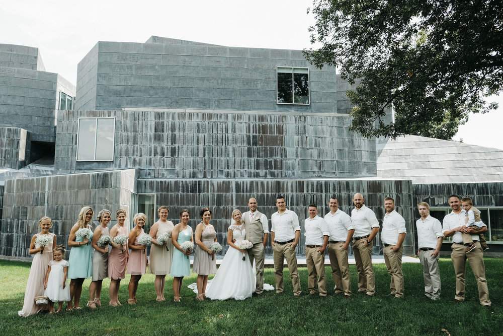 Pictures of the whole bridal party in downtown Toledo.