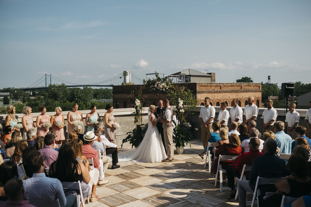 Summer wedding on a rooftop in northwest Ohio.