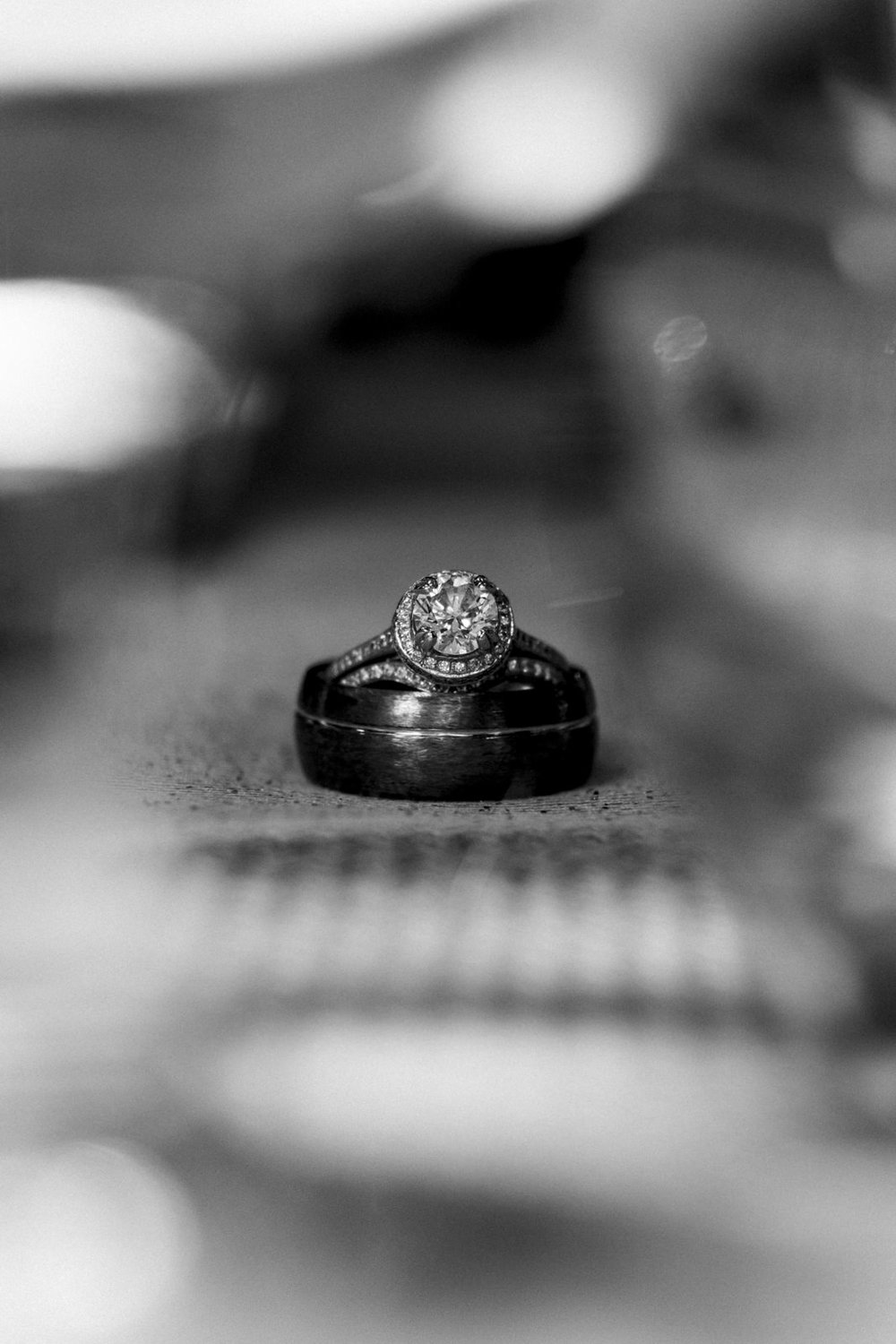 Black and white picture of the wedding ring.