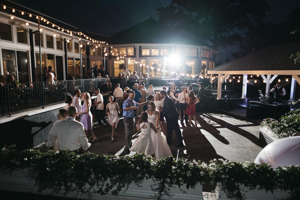 Outdoor dance floor at Toledo Country Club.