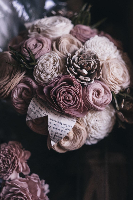 Wooden wedding bouquet.