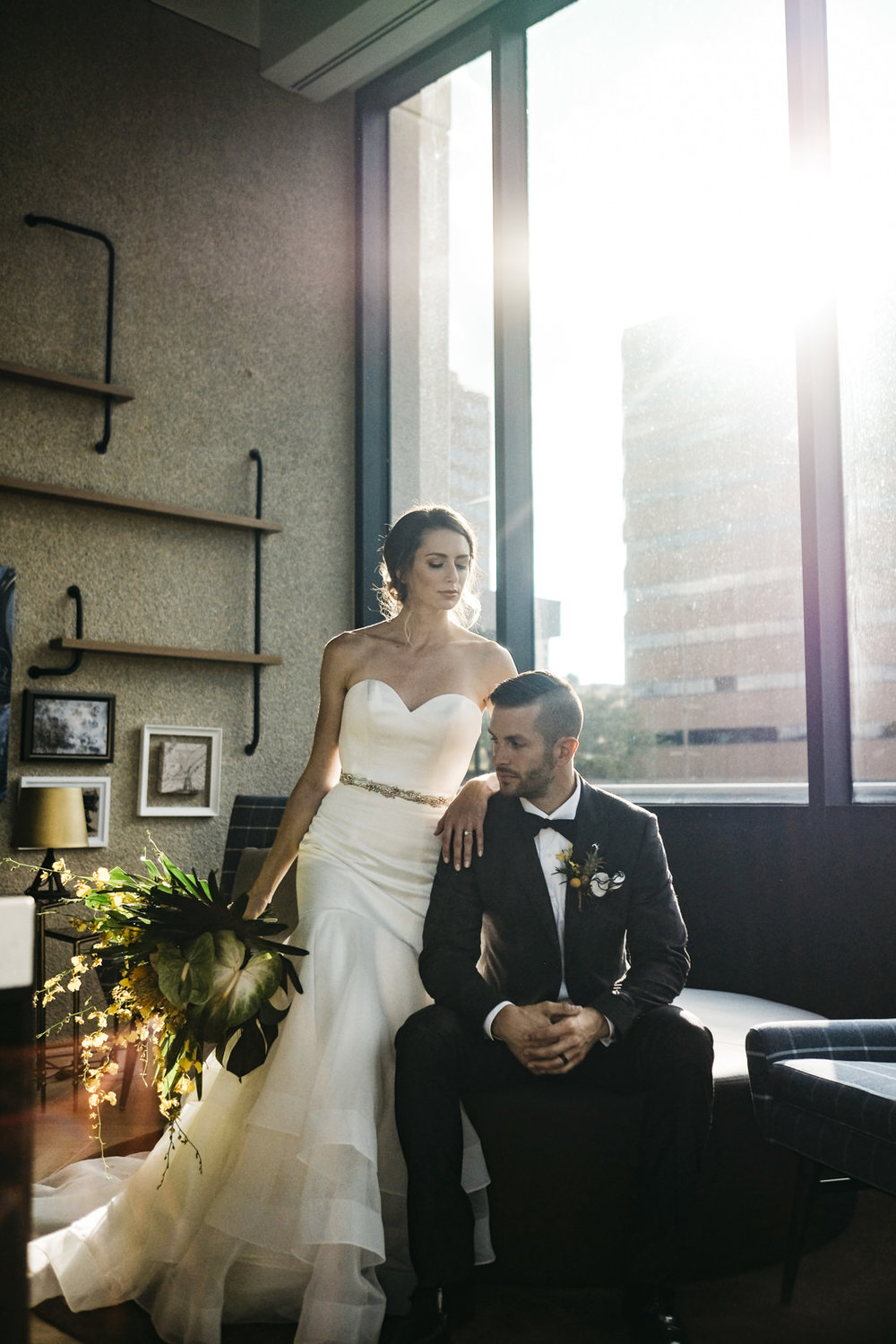 Bride and groom at a Renaissance Hotel wedding styled shoot.