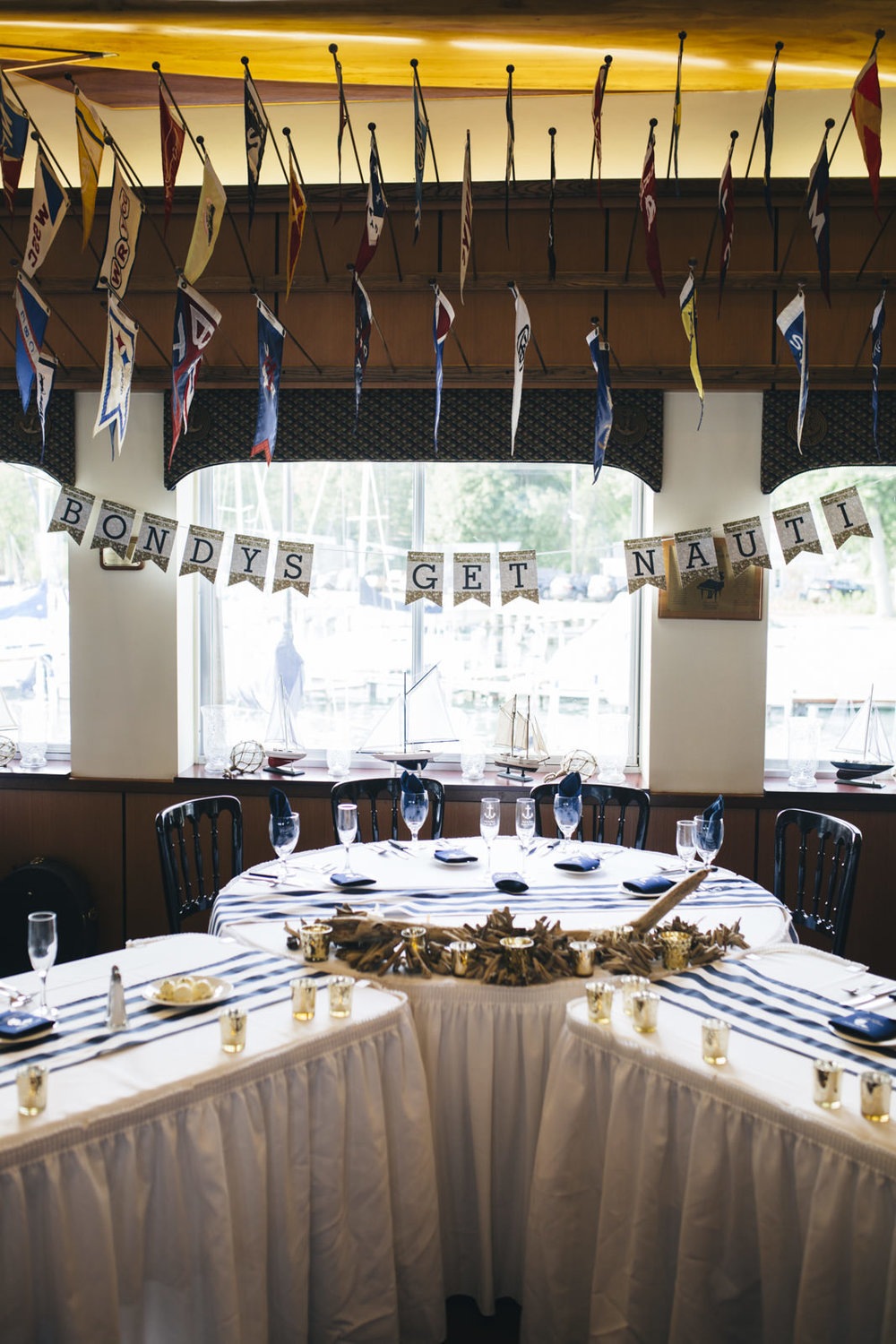 Nautical themed wedding decorations at Michigan wedding reception.