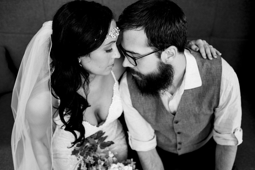 Bride and groom black and white portrait at Renaissance Hotel in Downtown Toledo.