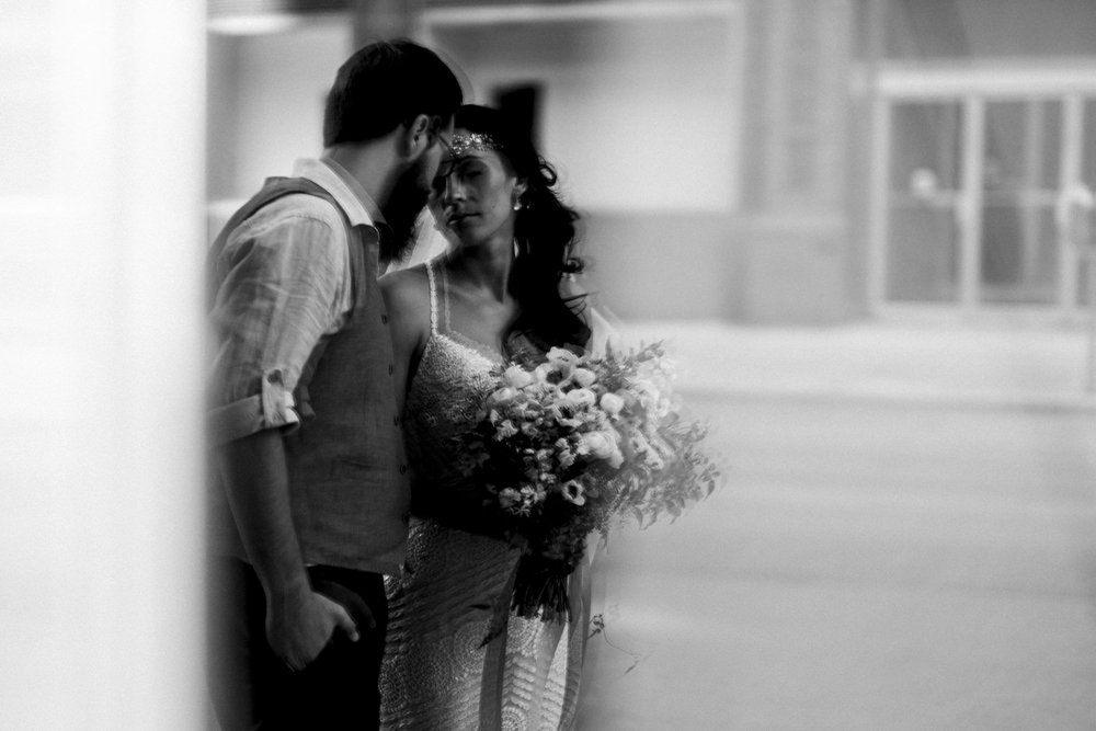 Bride and groom wedding photography in downtown Toledo.