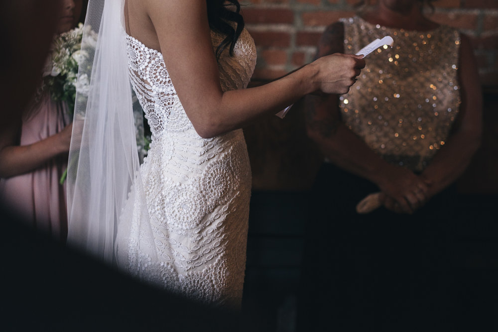 Bride in boho wedding dress from Atlas Bridal in Toledo, Ohio.