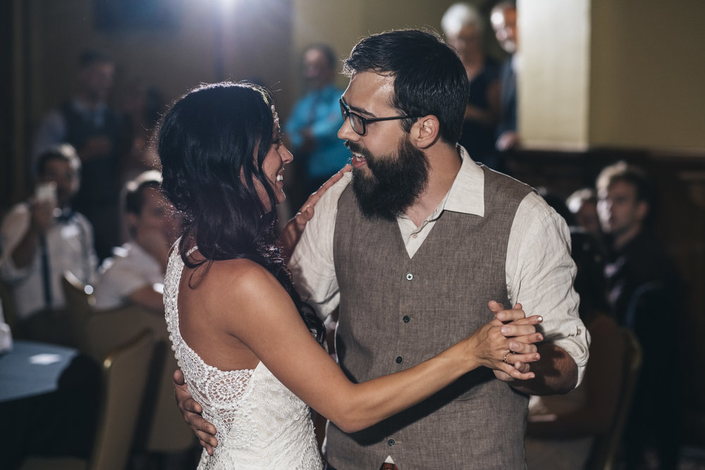 Bride and groom's first dance at wedding reception.