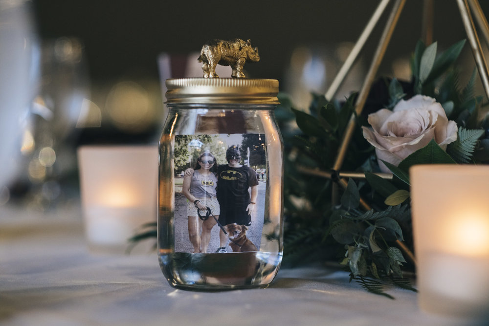 A unique centerpiece idea for a wedding reception that includes animals.