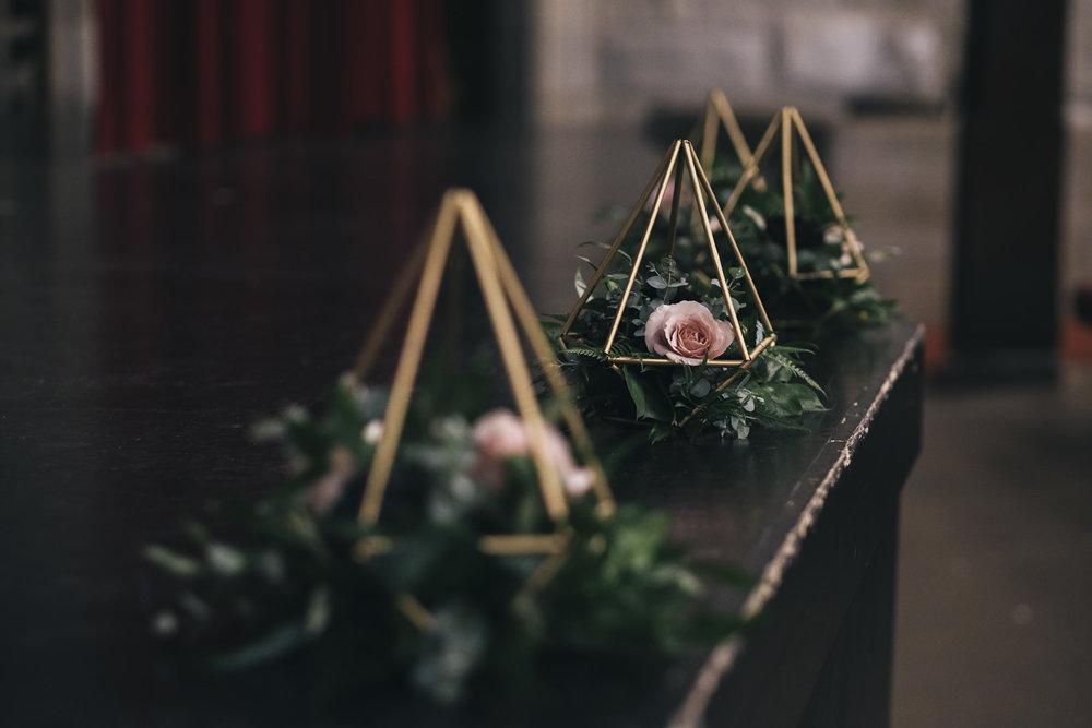 Wedding ceremony decorations from Bartz Viviano.
