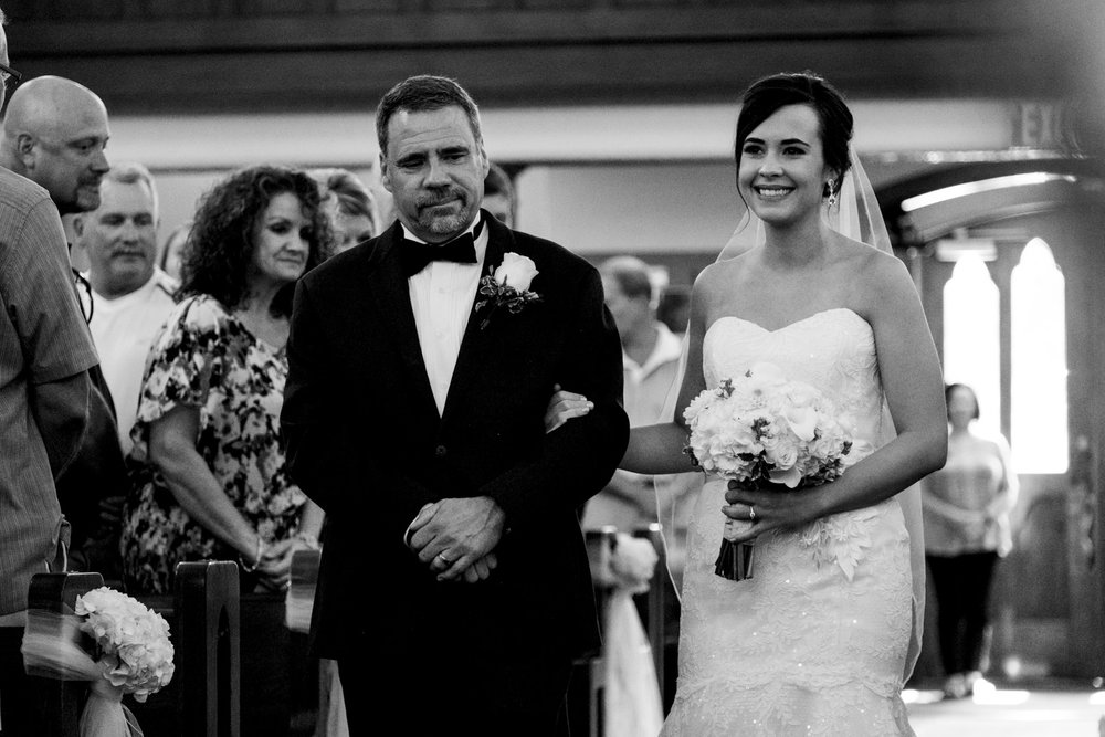 Father walks his daughter down the aisle for a northern Ohio, Great Lake wedding.