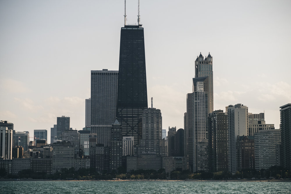 Picture of the Chicago skyline before the engagement session in early fall