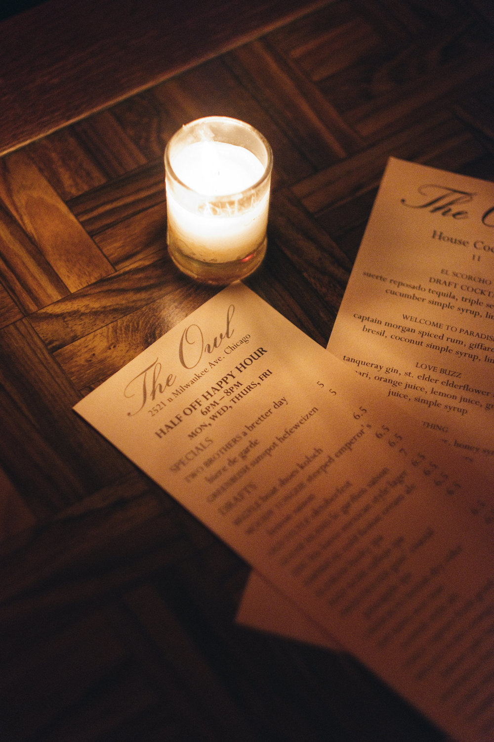 Picture of the bar menus for The Owl in Chicago