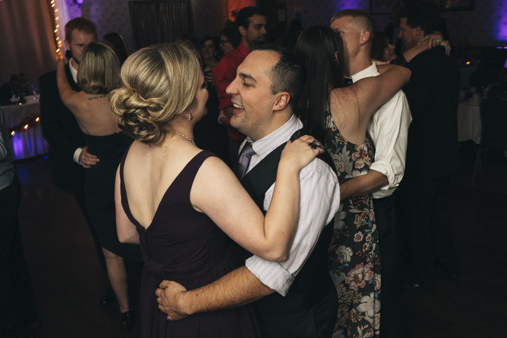 Couple dances during a wedding reception at Northern Ohio Elks Lodge