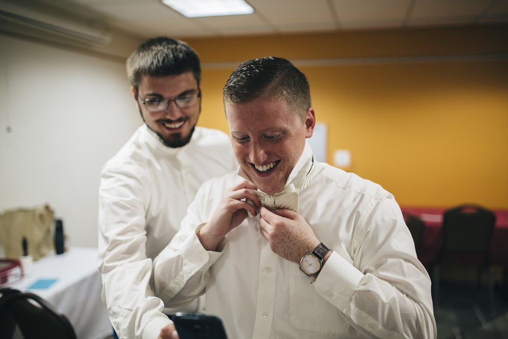Groom gets ready on BGSU's campus
