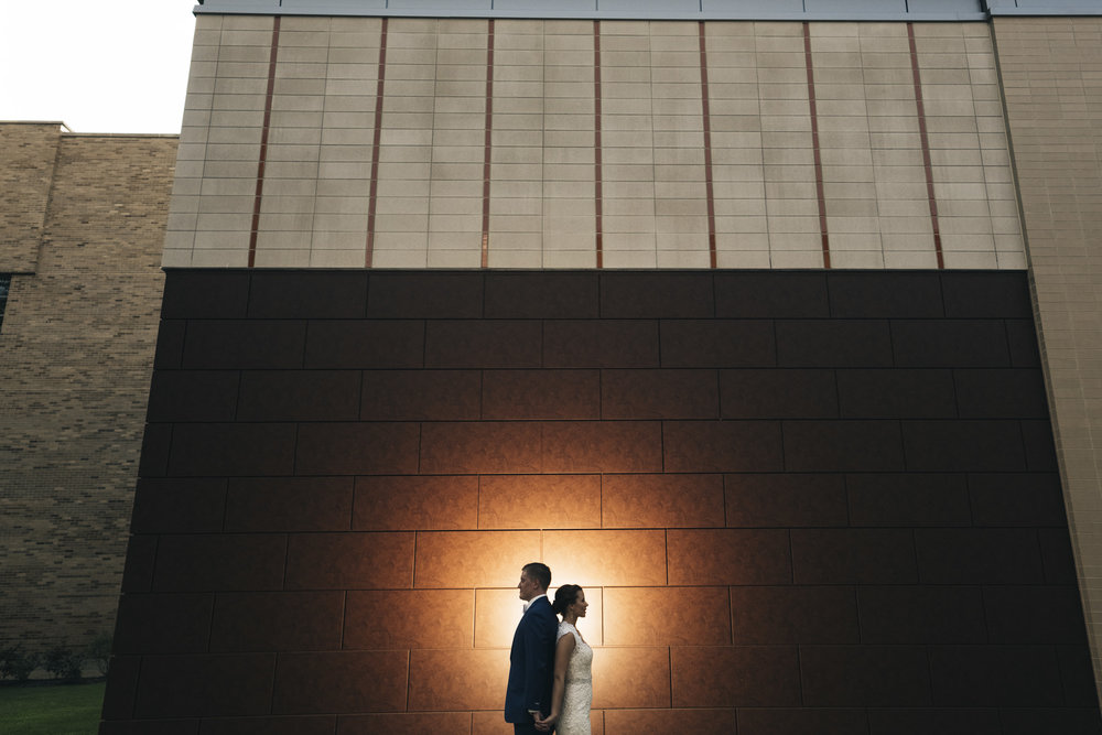Bride and groom stand on BGSU's campus before their wedding ceremony