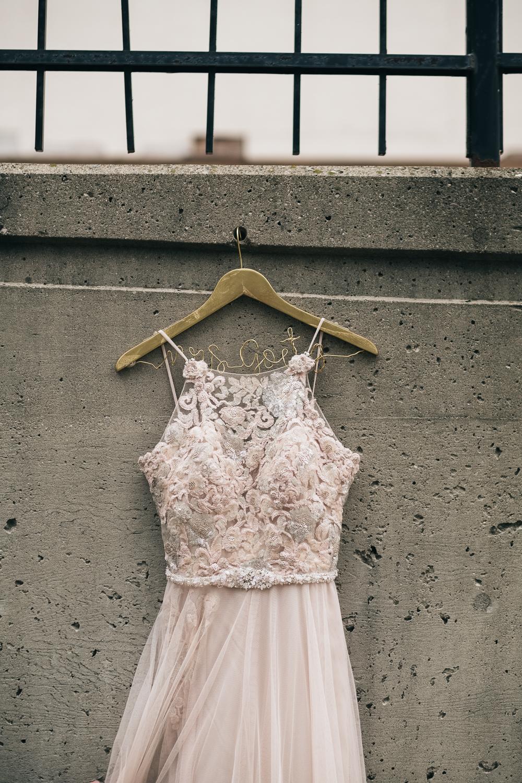 The bride's custom designed Belle Amour Bridal dress in Toledo Ohio