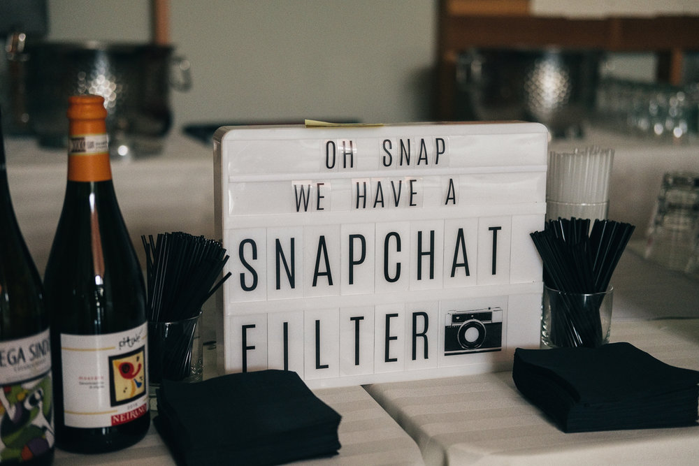 Custom snapchat filters are a hit at weddings to entertain your guest and add to your memories!