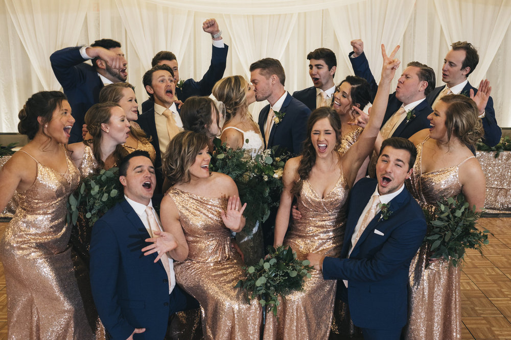 Fun bridal party portrait at Renaissance Toledo Downtown Hotel.