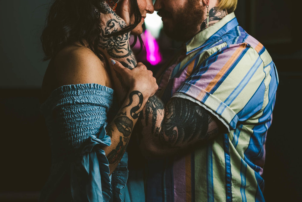 Tattoo details during engagement session in depot town, michigan