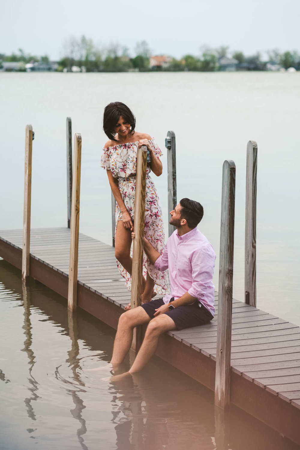 Marblehead Ohio Engagement Session on Boat Dock