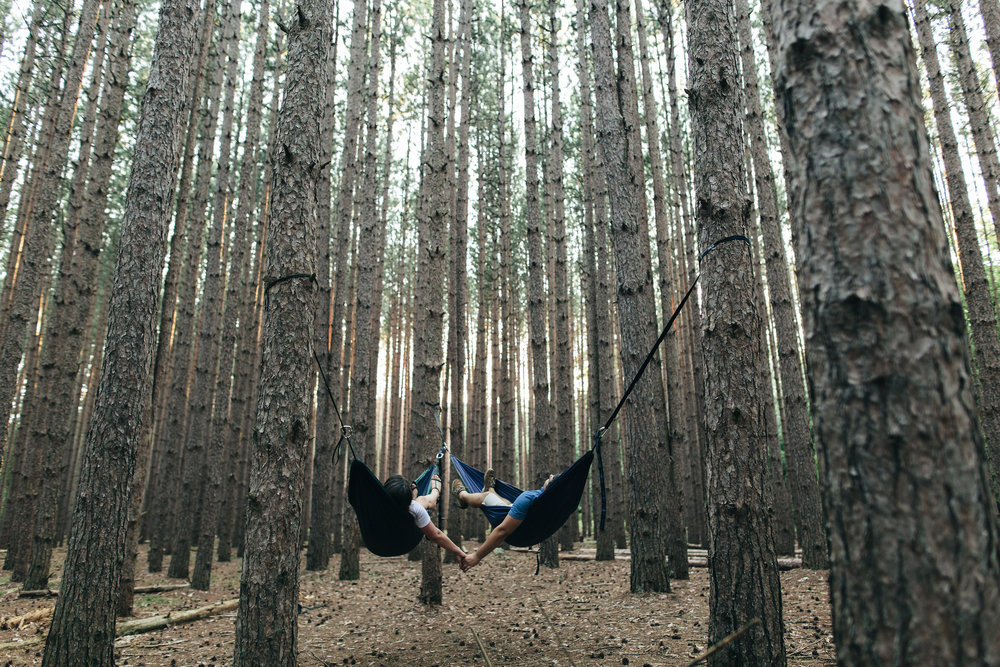 Couple Hammocks for Date in Oak Openings Park Photography