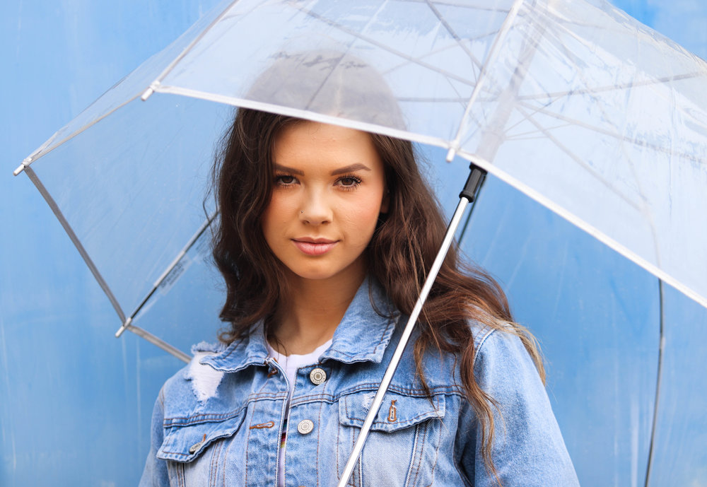 Model Stands Under Umbrella for Photoshoot