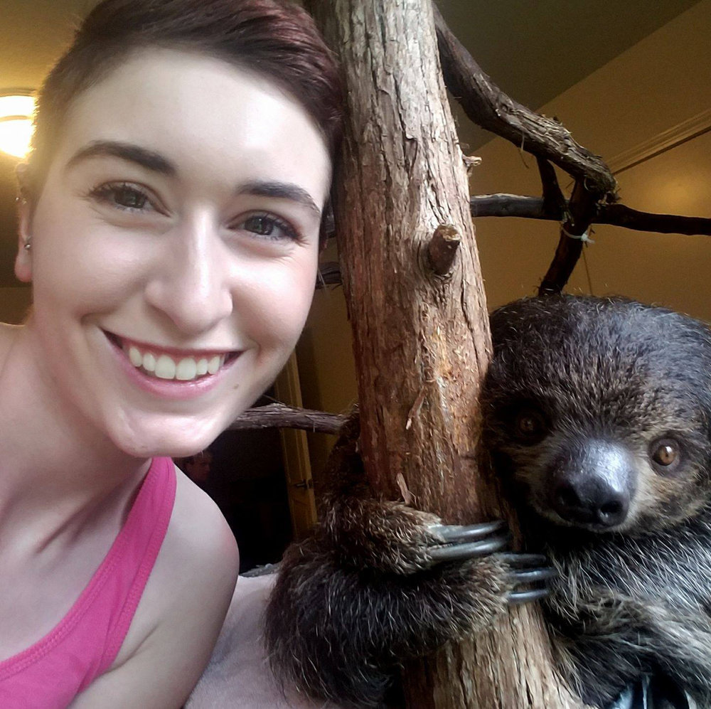 Swatch Studios Intern Poses with Sloth