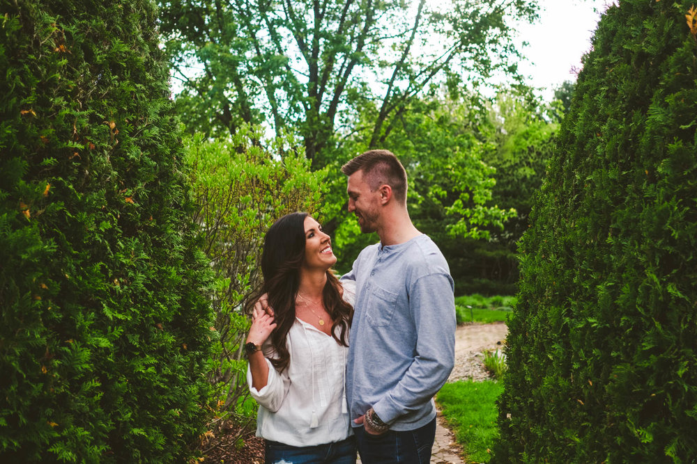 Toledo Wedding Photographers with Engaged Couple for their Engagement Session at Toledo Botanical Gardens