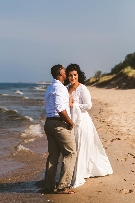 Toledo Wedding Photographers Capture Engagement Session on Silver Lake Sand Dunes Shore