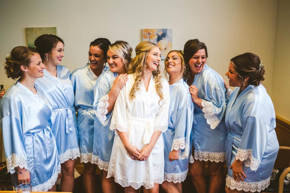 Bridesmaids Smile for Toledo Wedding Photographers on Wedding Day at Stone Ridge Golf Club