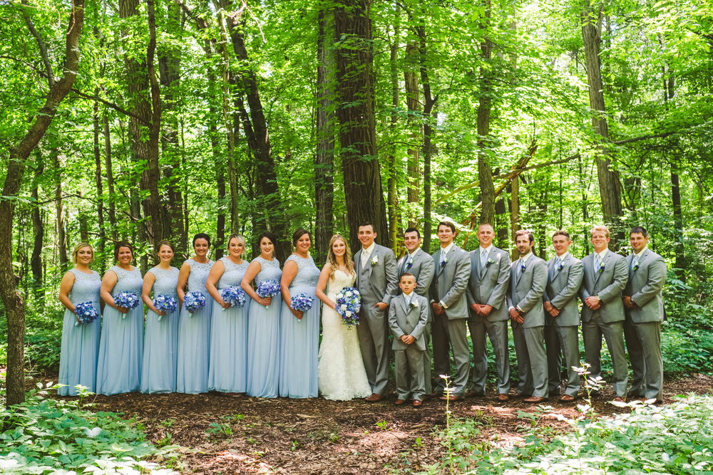 Bridal Party at Winter Garden Park in Bowling Green Ohio on Wedding Day with Toledo Photographers