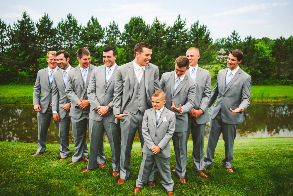 Groomsmen at Stone Ridge Golf Club on Wedding Day in Bowling Green Ohio with Toledo Wedding Photographers