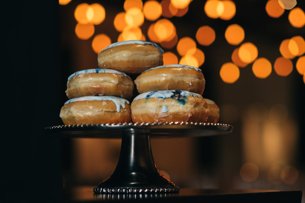 Donuts as Late Night Snack at Wedding in Toledo Ohio with Wedding Photographers