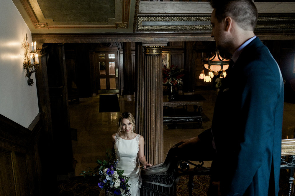 Bride and Groom with Toledo Wedding Photographers for Styled Shoot at the Toledo Club