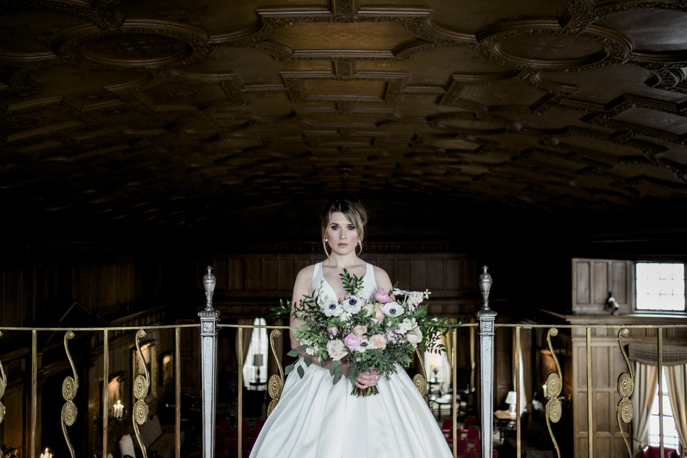 Bride and Flowers on Wedding Day in Toledo Ohio at the Toledo Club for Styled Shoot with Wedding Photographers