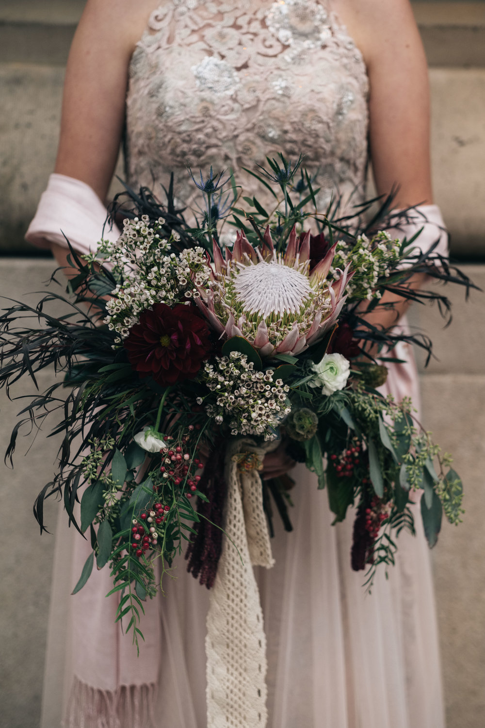 Bride with Toledo Wedding Photographers and Floral Designs from La Boutique Nostalgie on Wedding Day