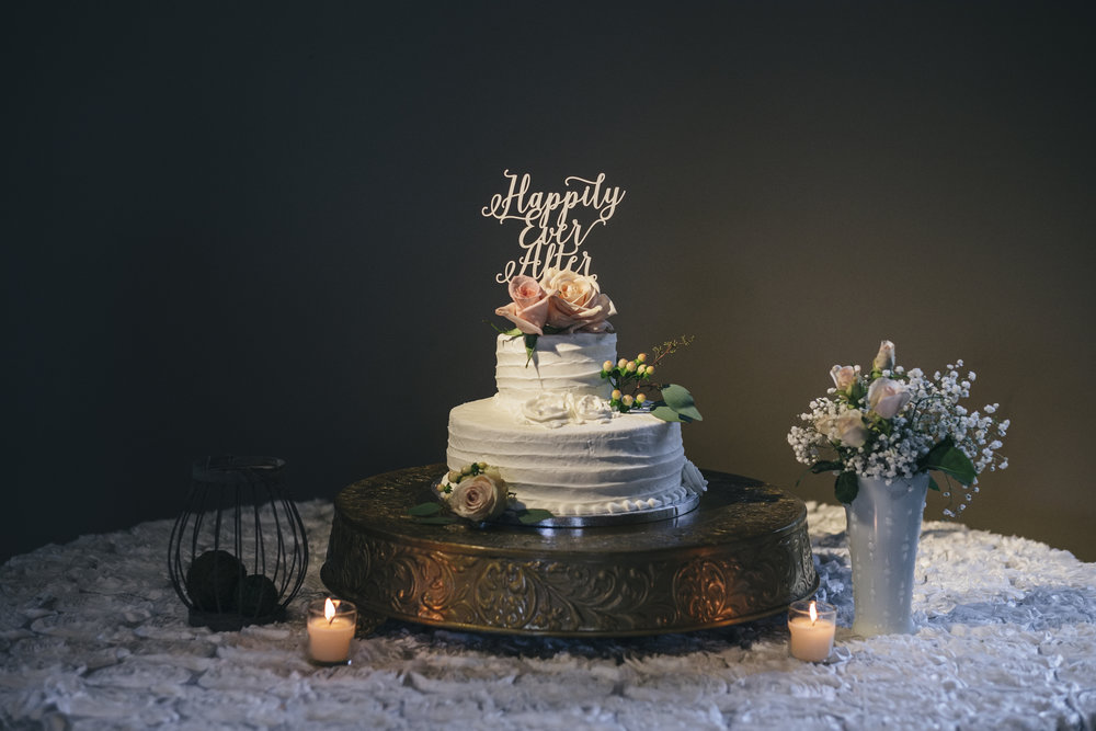 Cake Table with Floral Decor from La Boutique Nostalgie and Toledo Wedding Photographers